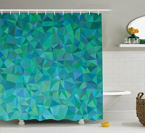 Teal Decor Shower Curtain Set By Ambesonne, Abstract Irregular Triangle Mosaic Design Geometrical Modern Art Illustrated Pattern, Bathroom Accessories, 69W X 70L Inches, Green Navy