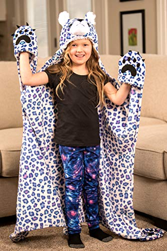 Hooded Animal Blanket by Fin Fun Wild Things Snow Leopard