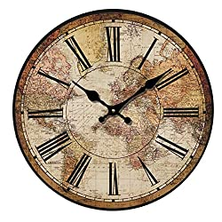 HUABEI Retro Wall Clock, Vintage World Compass Map Travel Lover Inch Silent Wooden Wall Art Decor Analog Battery Operated Non-Ticking Bedroom Living Room Kitchen Office (14'')