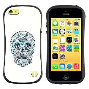 LASTONE PHONE CASE / Suave Silicona Caso Carcasa de Caucho Funda para Apple Iphone 5C / Skull Teal White Pattern Floral Death