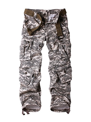 Must Way Men's Cotton Casual Military Army Cargo Camo Combat Work Pants with 8 Pocket Digital 34