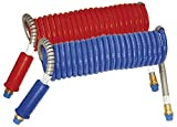 Alaskan Stallion Combo Blue & Red Power Air Lines - Coiled Air Brake Component - 1/2'' Fittings - 15 ft.