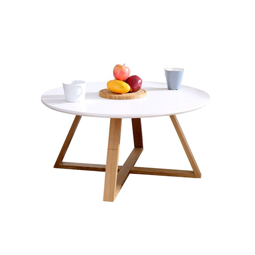 センターテーブル ウォールナット カフェテーブル 丸 直径80cm コーヒーテーブル アンティーク リビングテーブル 丸テーブル 白/黒 ダイニングテーブル 木製 ラウンドテーブル 丸テーブル 北欧 木 ダイニングテーブル 低め 木製 食卓テーブル B0714MS9YF Parent ホワイト
