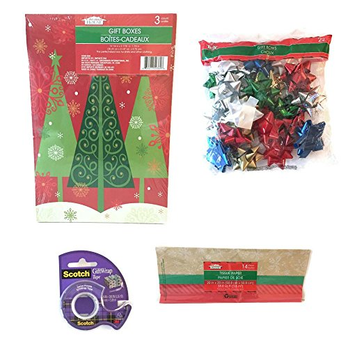 Christmas Gift Box Bundle of 40 pieces: Includes 2 Gift Boxes, Gift Tissue, Gift Bows, and Gift Wrap (Silly Snowman Christmas Costume)