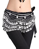ZLTdream Women's Belly Dance Wave Shape Hip Scarf With Silver Coins