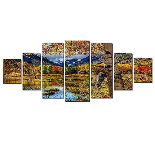 Startonight Glow in the Dark, Huge Canvas Wall Art Autumn Landscape, Home Decor, Dual View Surprise Artwork Modern Framed Wall Art Set of 7 Panels Total 39.37 x 94.49 inch by Startonight