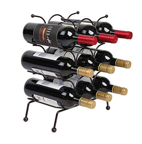 Finnhomy 9 Bottle Wine Rack, Wine Bottle Holder Free Standing Wine Storage Rack, Iron, Brozen (Wine Gift Rack)