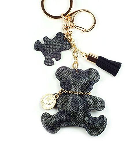 PU Leather Dog/Bear/Cat/Giraffe Keychain Check Canvas Patten Textile Tassel Handbag Key Charm Ring Pendant Chain (Grey Bear)