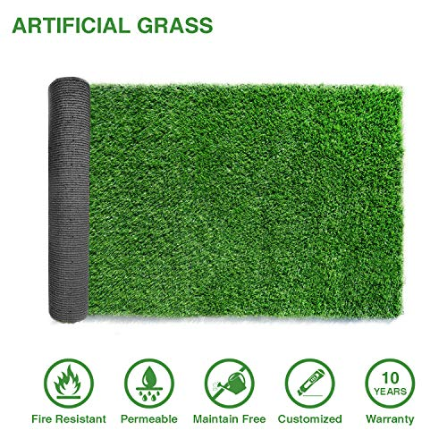 LITA 4ftx7ft Artificial Grass Fake Deluxe Synthetic Thick Lawn Pet Turf Perfect for Indoor/Outdoor Landscape, 4 FT x 7 FT (28 Square FT), Green