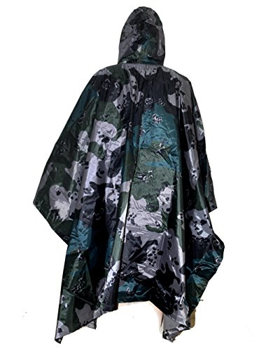 Price comparison product image Multifunction Waterproof Raincoat Military Camouflage Poncho for Camping Tent Rain Cover Outdoor (American flower camouflage)