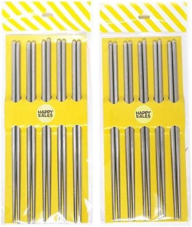 Lightweight Happy Sales HSS-SSC10P Premium Korean Chopsticks Stainless Steel 10 Pairs Vacuum Hollow Non-slip