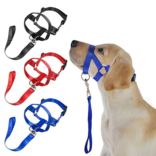 Afco Dog Head Collar Halter,Soft Nylon Training Mouth Cage Anti Bite Chew Safety Mask For Pet Dog size L (Black)