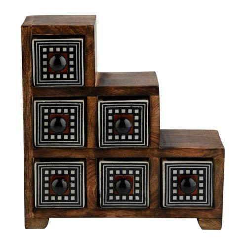 Curios 6 Drawer Brown Wood Apothecary Chest (Apothecary Chest Small)