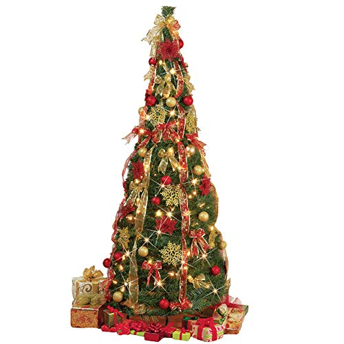 Collapsible Pop Up Christmas Tree 6 FT - with Lights, 6 Ft