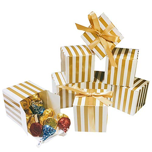 Small Shiny Gold Cube Candy Treat Boxes Set