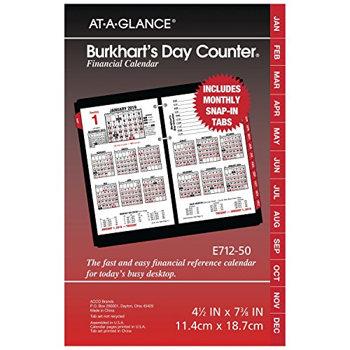 AT-A-GLANCE 2019 Daily Desk Calendar Refill, 4-1/2