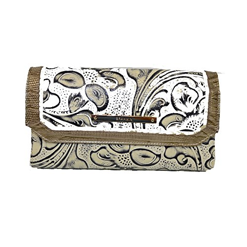Brahmin Diffused Checkbook Wallet Floral Leather Clutch Creme Delano