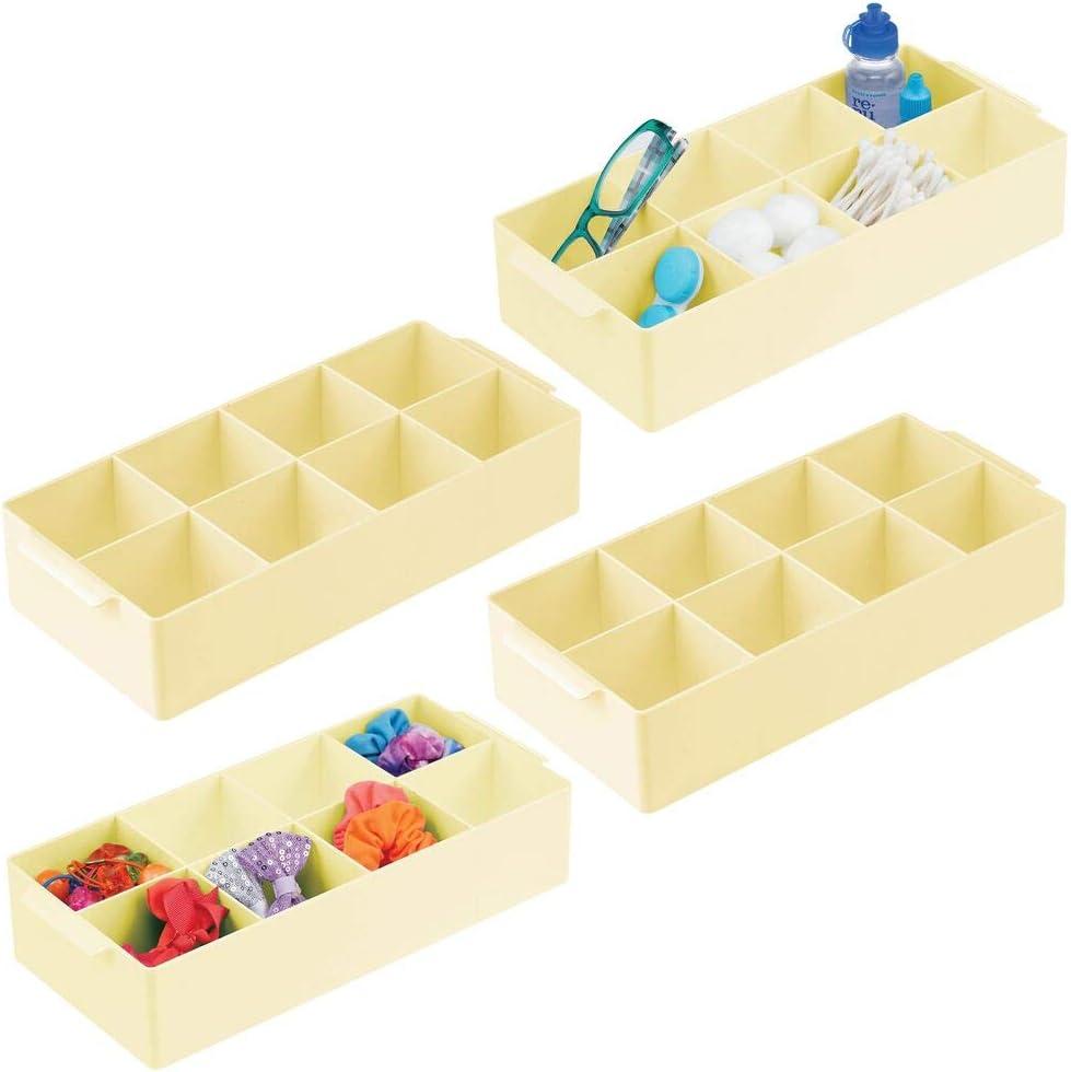 mDesign Plastic Bathroom Storage Organizer Bin Box - 8 Divided Sections - Holder for Makeup, Cosmetics, Nail Polish, Vitamins, Shaving Kits, Hair Spray, Medical Supplies, First Aid - 4 Pack - Yellow
