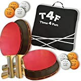 Time4Fun - Professional Ping Pong Paddle Set of 4 including 8 balls of 3 stars - composed by 5 wood layers - Great for outdoor activities with your family, friends