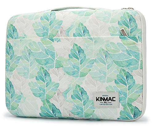 Leaf Green Sleeve Laptop (Kinmac 360° Protective 13 inch-13.5 inch Waterproof Laptop Case Bag Sleeve with Handle for 13.3