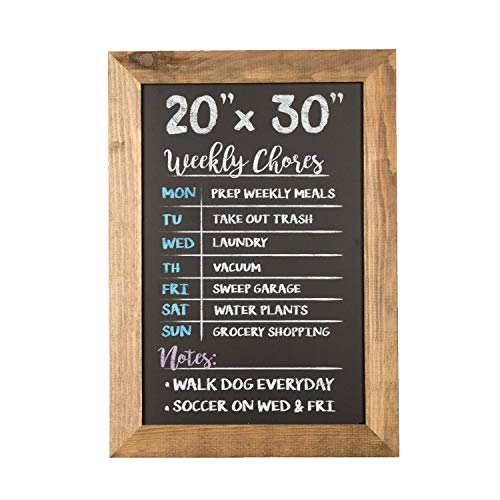 Ilyapa Rustic Wooden Magnetic Kitchen Chalkboard Sign - 20x30 Inch Brown Framed Hanging Chalk Board for Farmhouse Decor, Wedding, Restaurant & Home