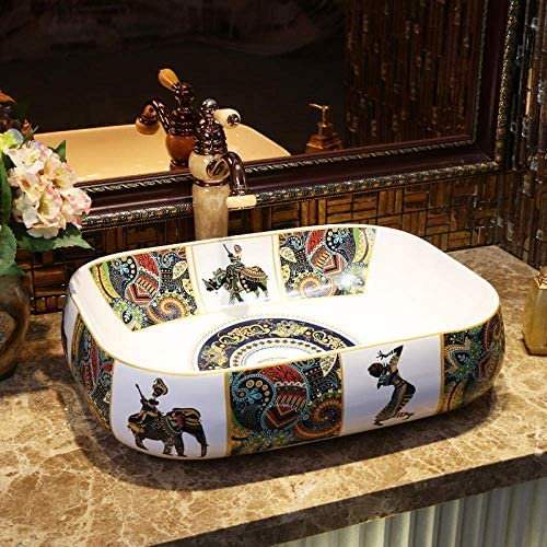 Yadianna 長方形馬のパターンヨーロッパスタイル中国の洗面台のシンクアートカウンタートップセラミック洗面用バスルームのシンク