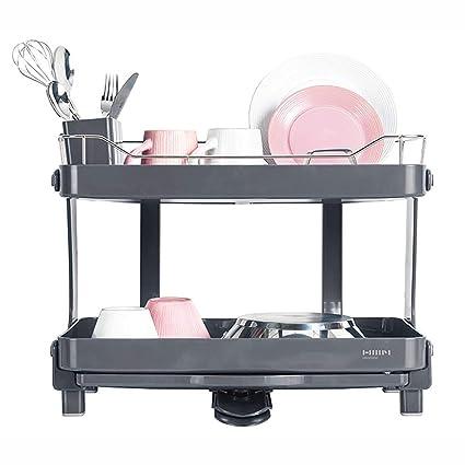 Hanssem® - Escurreplatos de 2 niveles de ancho para fregadero o fregadero, color gris