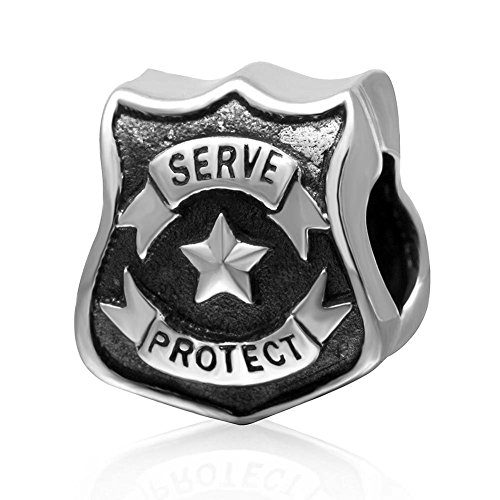 Police Station Charm /Serve and Protect Charm 925 Sterling Silver Shield Charm Five-pointed Star Charm for Pandora Charm Bracelet