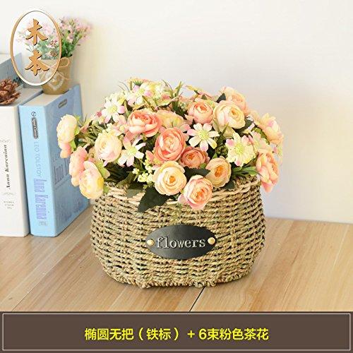 SituMi-Artificial-Fake-Flowers-Wedding-Bouquet-Set-Home-DecorationPink-Camellia-The-Rattan-Vase