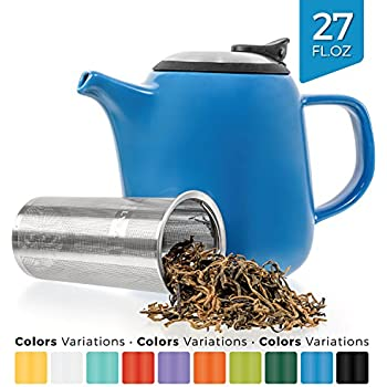 Tealyra - Daze Ceramic Teapot in Blue - 27-ounce (2-3 cups) - Small Stylish Ceramic Teapot with Stainless Steel Lid and Extra-Fine Infuser To Brew Loose Leaf Tea