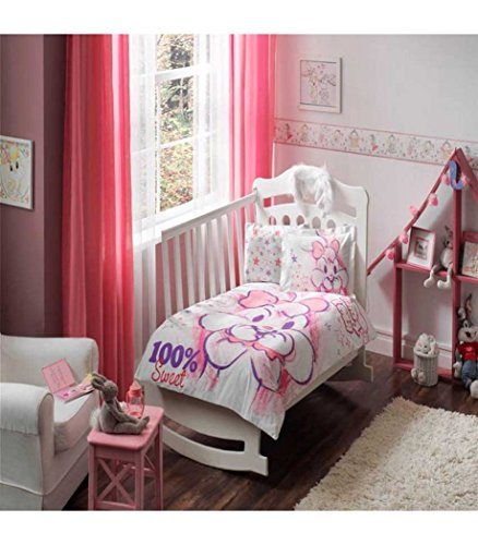 Baby Girl Nursery Duvet Cover Set - 100% Cotton - 4 pieces Lola %100 Sweet Girl's Themed Made in Turkey by cityof20