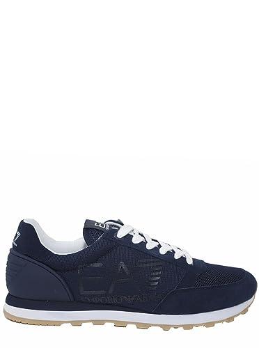 84401747290 Emporio Armani EA7 Chaussures Baskets Sneakers Homme en Daim Heritage blu