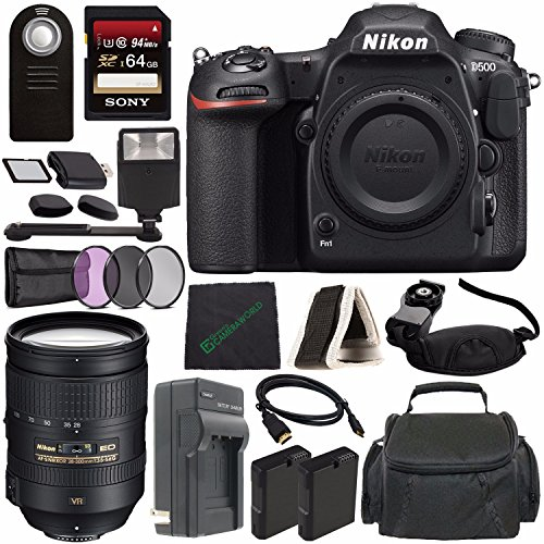 Nikon D500 DSLR Camera (Body Only) + Nikon AF-S NIKKOR 28-300mm f/3.5-5.6G ED VR Lens + Rechargable Li-Ion Battery + Home and Car External Charger + Sony 64GB SDXC Card + HDMI + Remote + Flash Bundle Review