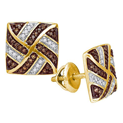 10kt Yellow Gold Womens Round Brown Diamond Square Pinwheel Earrings 1/4 ()