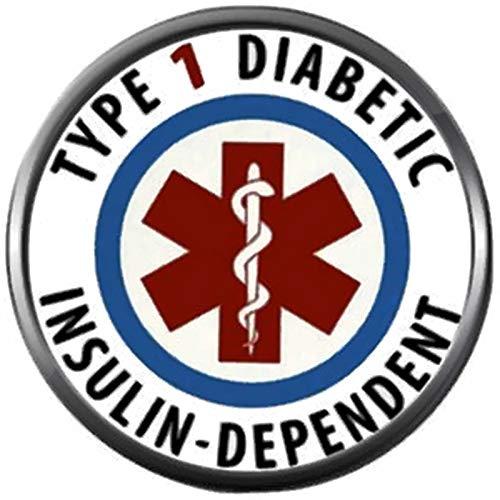 Snap Jewelry Medical Alert Type 1 Diabetes Diabetic Insulin Dependent Medic Maltese Cross 18MM - 20MM Charm (Charm 20mm 1)