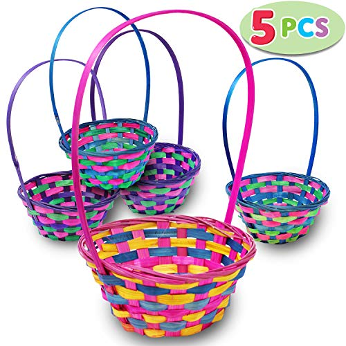 Easter Egg Baskets Bamboo 5 Pieces Multicolor Round