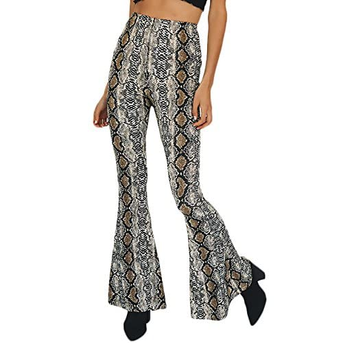 3c7b6924a3 Mujer Pantalon Hippie Acampanados De Cintura Alta Impresión De Piel De  Serpiente Vintage Fashionista Pantalones delicate