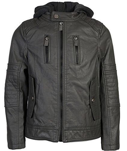 Urban Republic Boys Faux Leather Biker Jacket With Hood, Dark Charcoal w/Flap Pocket, 14/16' from Urban Republic