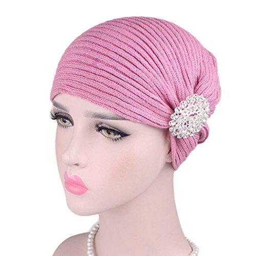 Unpara Muslim Wool Hat Glitter Alloy Drill Accessories Head Wrap Scarf Caps Chemotherapy Cap (Pink) (Drill Hat Wool)