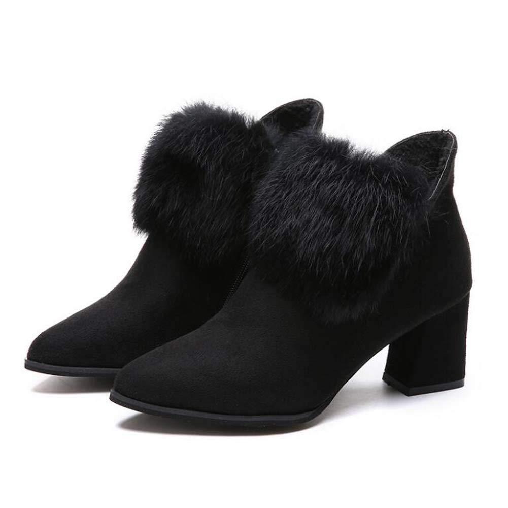 Frauen Pump Ankle Stiefelie Plush Martin Stiefel 6.5Cm Chunkly Heel Pointed Toe Pure Farbe Party Dress Schuhe OL Court Schuhe Eu Größe 35-39