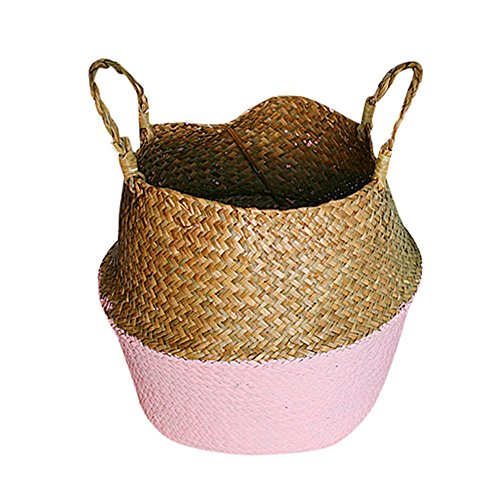 Iusun Folding Plant Flower Pot Seagrass Wicker Basket Planter for Succulent Plants Air Plants Cacti Artificial Plants Storage Organizer Patio Home Office Garden Indoor/Outdoor Decor Hot (Pink)