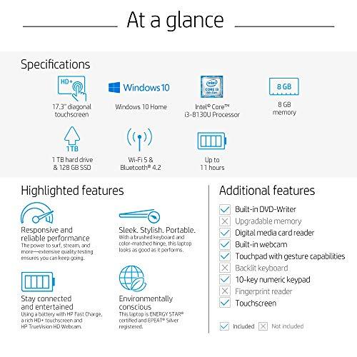 HP 17 Laptop, Intel Core i3-8130U, 8 GB Ram, 1 TB Hard Dive & 128 GB SSD Storage, 17-inch HD+ Touchscreen Display, Windows 10 Home, DVD-Writer (17-by0080nr, 2020 Model)