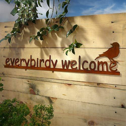 Modern Artisans Everybirdy Welcome - Rust Metal Garden Wall Art Sign, American Made