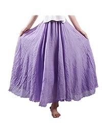 Elonglin Women Bohemia Skirt Long Linen Cotton Skirt