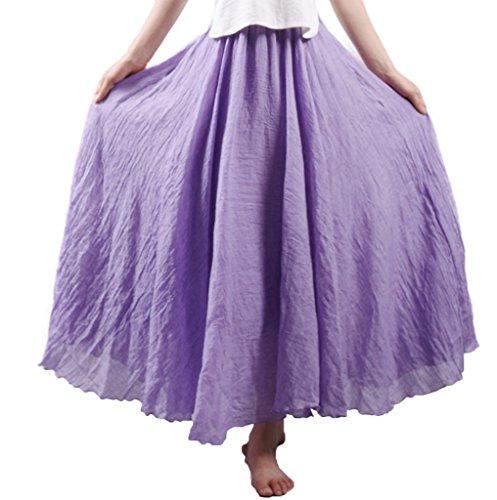 Taille Femme Coton Longue et Elonglin Elastique Lin Jupon Bohme Diverse avec Plisse Tour Couleur Jupe de en Violet xFAddqO1Yw
