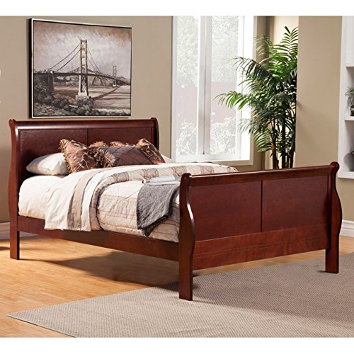 Alpine Furniture Louis Philippe II Sleigh Bed, Full Size