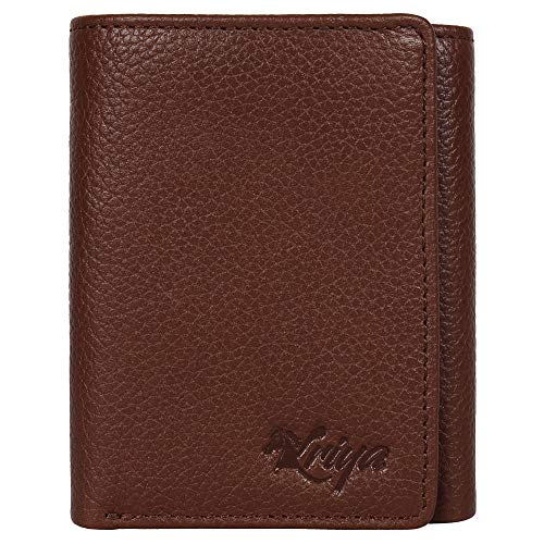 Trifold Leather Wallets for Men - 1 ID Windows Credit Card Holders Slim Design & RFID Elegant Gift Box
