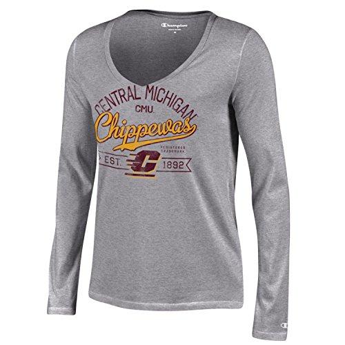 NCAA Central Michigan Chippewas Women's Champion University Long sleeve V-Neck T-Shirt, Small, Gray (Michigan Gear Central)