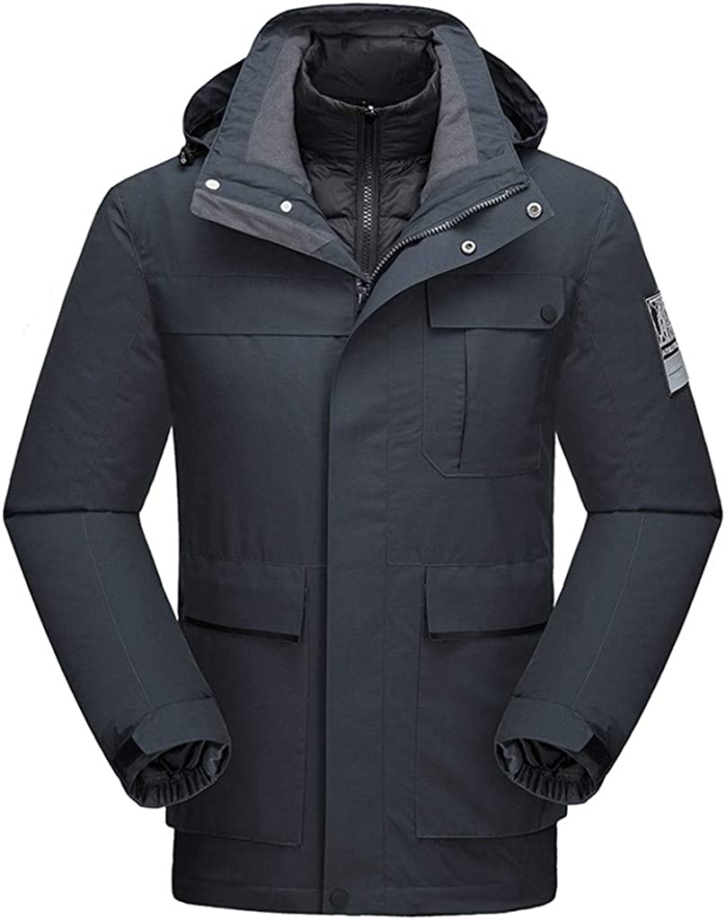iHHAPY Mens Winter Hoodie Winter Coat Detachable Padded Jacket 3 in 1 Outdoor Jacket Detachable Down Jacket Windproof