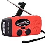 iRonsnow Dynamo Emergency Solar Hand Crank Self Powered AM/FM NOAA Weather Radio LED Flashlight Smart Phone Charger Power Bank with Cables, Red